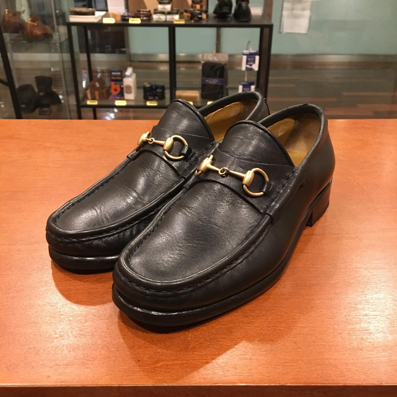 GUCCIのハーフソール補強と靴磨き