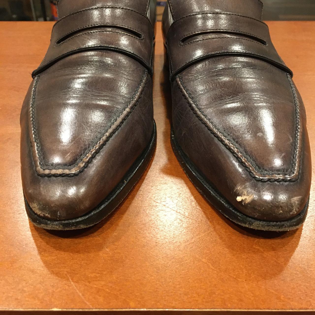 ベルルッティの靴を傷補修しレザーヒール交換を行いました