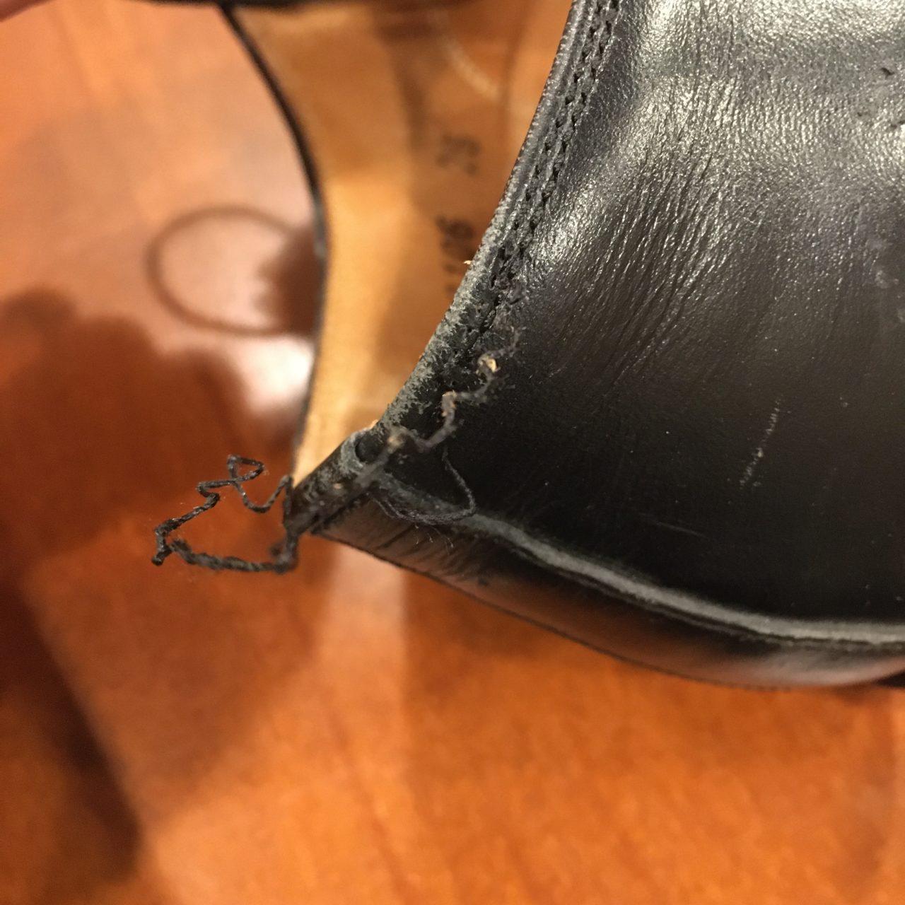 靴のほつれを縫い直して今後の対策を!